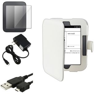 Whie Case/ Screen Proecor/ Charger/ Cable for Barnes & Noble Nook 2
