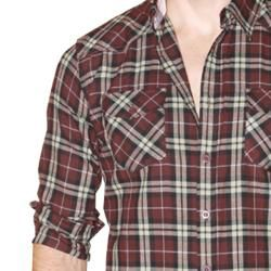191 Unlimited Mens Brown Plaid Flannel Shirt