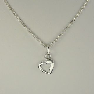 Jewelry by Dawn Sterling Silver Small Open Heart Drop Rope Chain