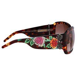 Ed Hardy Womens Skull and Roses Wraparound Sunglasses