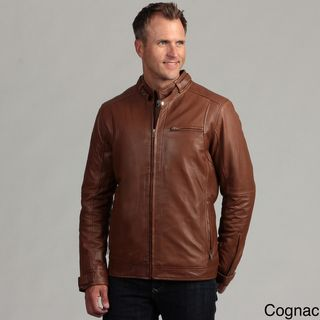 Izod Mens Lambskin Leather Motorcycle Jacket