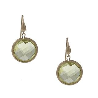 Rivka Friedman 18k Gold Overlay Round Yellow Crystal Dangle Earrings