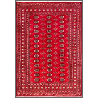 Pakistani Hand knotted Bokhara Red/ Ivory Wool Rug (57 x 710