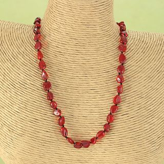 Handcrafted Ruby Red Baltic Amber Freeform Beads Necklace (Lithuania