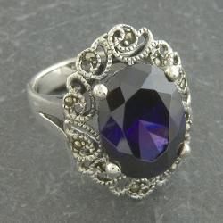 Sterling Silver Marcasite and Purple Cubic Zirconia Ring (Thailand