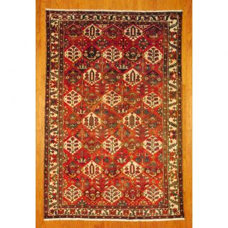 Persian Hand knotted Tribal Bakhtiari Red/ Ivory Wool Rug (72 x 109