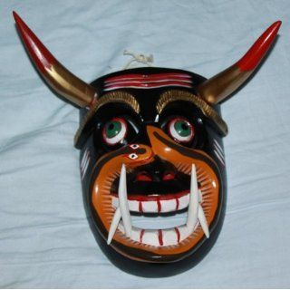 Tarascan Tricky Devil Mask # C 162, Wood Carving, Painted, Mexico