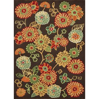 Albus Coffee Floral Rug (77 x 105)