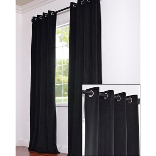 Signature Grommet Black Velvet 108 Inch Curtain Panel