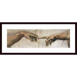 Michelangelo Buonarroti Creation of Adam (Detail) Framed Print