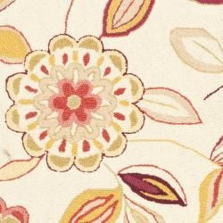 Hand hooked Floral Garden Ivory/ Pink Wool Rug (29 x 49)