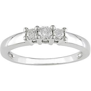 Miadora 14kt White Gold 1/4ct TDW Round Diamond Three Stone Ring