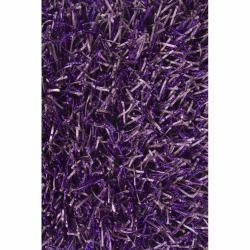 Hand woven Mandara Purple Shag Rug (79 x 106)