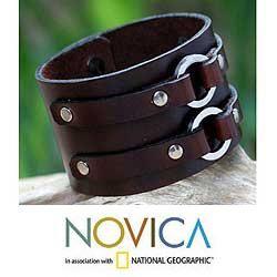 Mens Leather Symmetrical Brown Wristband Bracelet (Thailand