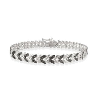 Sterling Silver Black Diamond Accent Leaf Bracelet