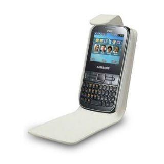 Etui Portefeuille Simili Blanc Samsung S3350 Chat 335   Etui blanc