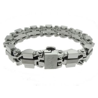 Black and Blue Jewelry Stainless Steel Mens Heavy Ingot Link Bracelet