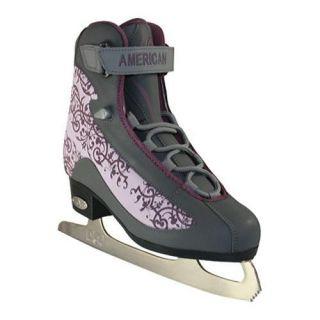 Womens American 545 Softboot Figure Skate Grey/Plum