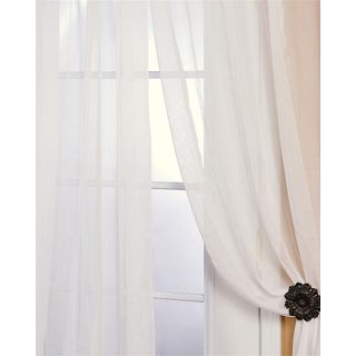 Off White Poly Voile 108 inch Sheer Curtain Panel Pair