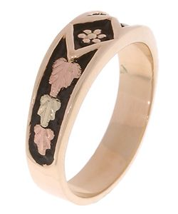 14k/ 10k Black Hills Gold Ladies Antiqued Band