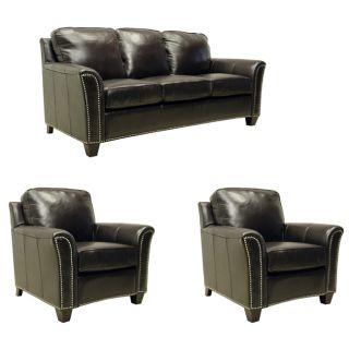 Lancaster Dark Brown Italian Leather Sofa/ Chairs Set Compare $7,099