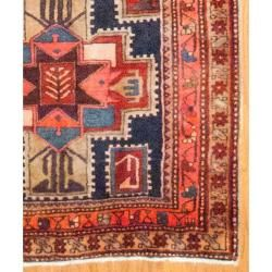 Persian Hand knotted Hamadan Navy/ Coral Wool Rug (310 x 107