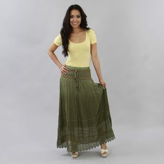Meetu Magic Olive Green Embroidered Full length Peasant Skirt