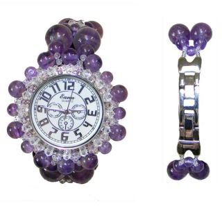 Womens Stainless Steel Violet Dew Amethyst Watch (China