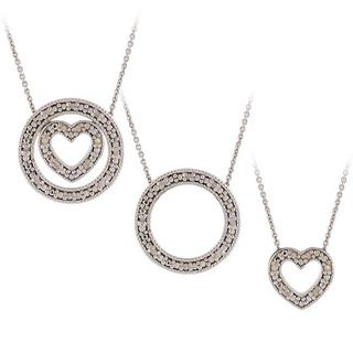 DB Designs Silver 1/8ct Diamond 3 in 1 Circle Heart Necklace