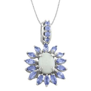10k White Gold Opal and Tanzanite Necklace
