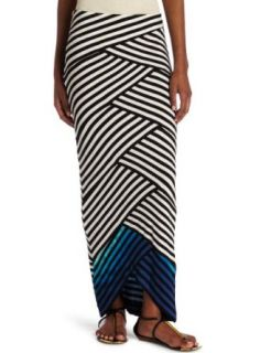 Nicole Miller Womens Patched Maxi Skirt: Clothing
