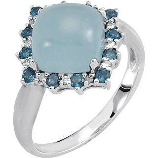14K White Gold Milky Aquamarine, London Blue Topaz and