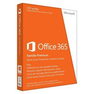 LOGICIEL BUREAUTIQUE Office 365 Famille Premium 5 PC/Mac Abonnement