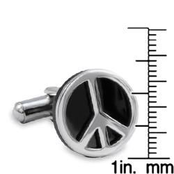 Stainless Steel Black Resin Inlay Peace Sign Cuff Links