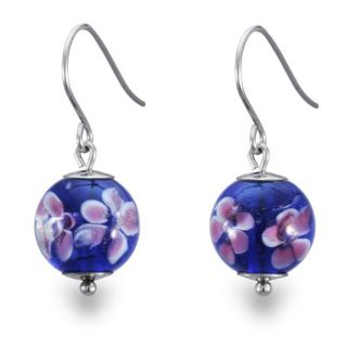 Stainless Steel Dark Blue and Pink Flower Design Glass Earrings