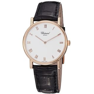 Chopard Mens Classic Rose Gold Black Strap Watch