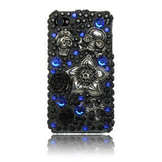 Luxmo iPhone 4/ 4S Black/ Blue Skull 3D Rhinestone Case