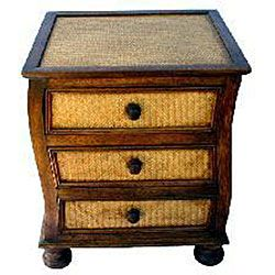 Handmade Teak Wood and Rattan Dresser/ Nightstand (Thailand
