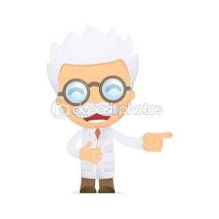 Funny cartoon scientist  Stock Vector © Sergey Konyakin #10668312