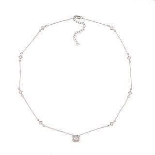 La Preciosa Sterling Silver Cubic Zirconia Square Necklace
