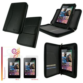 rooCASE Executive Portfolio Leather Case Cover Screen Protectors for