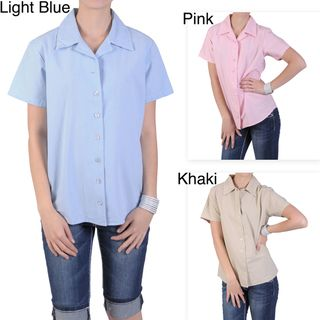Tressa Designs Womens Notch Collar Button up Camp Shirt