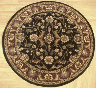 Indian Hand tufted Round Black/ Red Wool Rug(6 x 6)