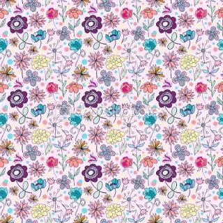 Lovely seamless cartoon flowers  Stock Vector © Oksana Solonitsyna