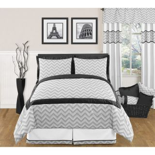 Sweet JoJo Designs Grey and Black Zig Zag 3 piece Full / Queen size