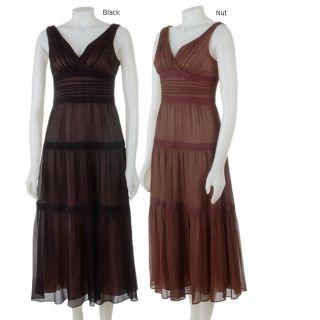 Anne Klein Silk Crinkle Peasant style Dress