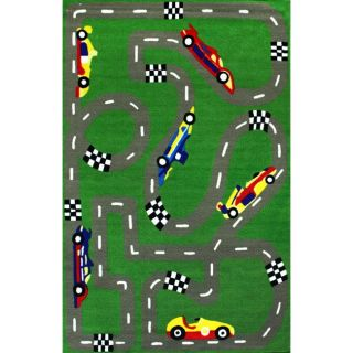 Alexa Playtime Car Race Green Kids Rug (45 x 69)