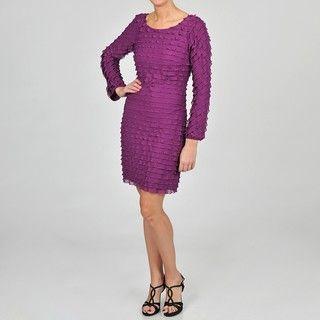 Cachet Womens Purple Mini tier Long Sleeve Sheath Dress