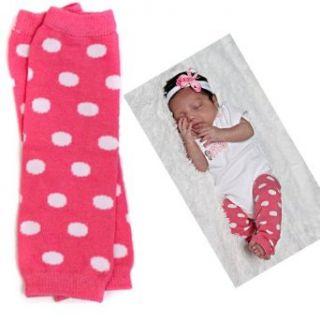 (178) NEWBORN pink polka dot baby girl leg warmers   up to