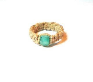 Natural Hemp Ring Size 14 with Green Recycled glass Bead